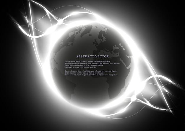 Digitale abstrakte kugel mit hellen wellenelementen.