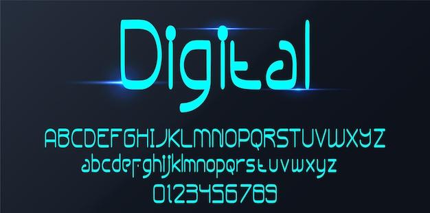 Digitale alphabet schriftart