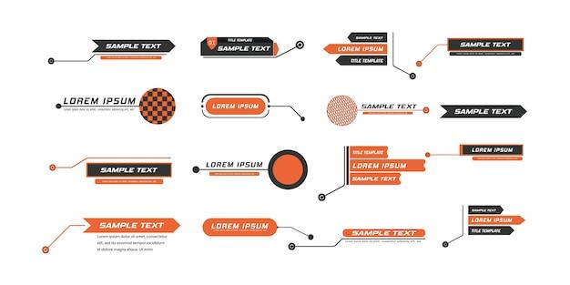 Digitale beschriftungen, fußnoten. layout für links und digitale informationen. quelle für werbung. set von hud.