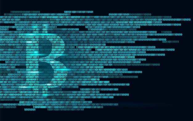 Digitale bitcoin-kryptowährungszeichen-binärcode-nummer, große daten