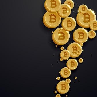 Digitale bitcoins währung goldene münze auf dunklem hintergrund
