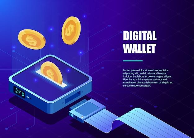 Digitale brieftasche. online-bank, bankkonzept. cyber-geld. online-zahlung.