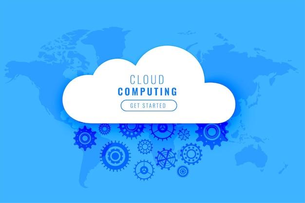 Digitale cloud-computing-technologie mit zahnrädern