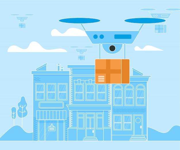 Digitale drohne, hubschrauber, lieferung quadcopter
