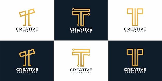 Digitale elegante moderne buchstaben t logo design sammlung