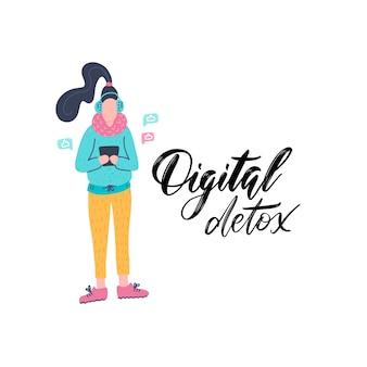 Digitale entgiftung. junge weibliche figur mit gerätesucht. moderner lebensstil. tausendjähriger benutzer.