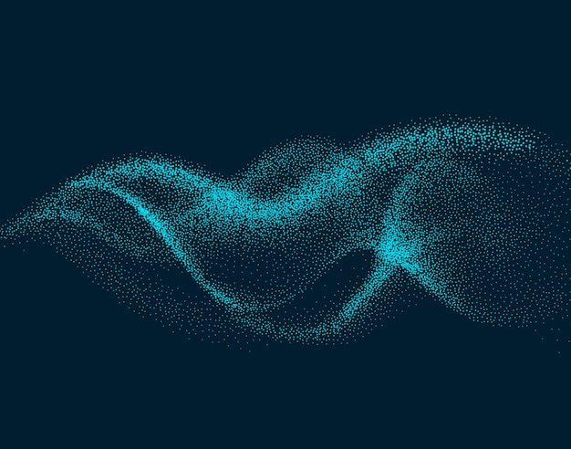 Digitale flusswelle mit bewegten partikeln. abstrakter raucheffekthintergrund