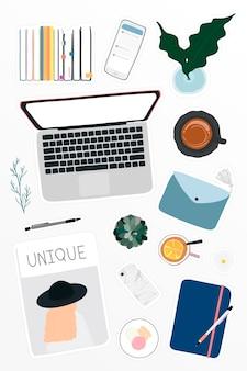 Digitale geräte auf tischarbeitsplatz-aufkleber-doodle-vektor