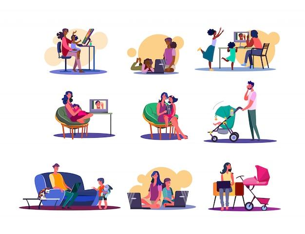 Digitale geräte für familien-set