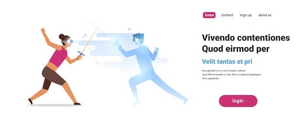 Digitale gläser der frauenfechter-abnutzung, die mit dem mann der virtuellen realität einzäunt den athleten vr das visionskopfhörer-innovationskonzept lokalisiert kämpfen
