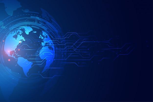 Digitale globale technologiefahne mit schaltplan
