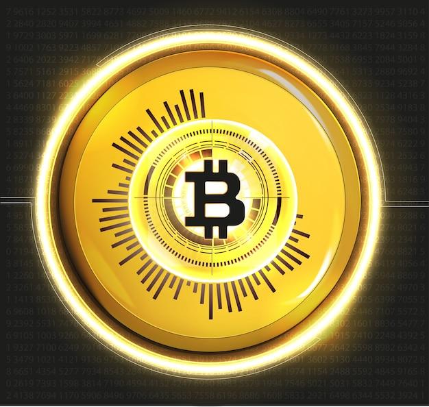 Digitale goldene bitcoin-währung, futuristisches digitales geld, weltweites technologie-netzwerkkonzept, hud-stil, illustration