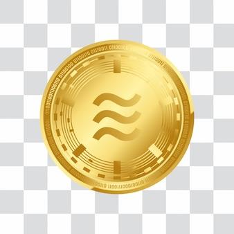 Digitale goldene münze der kryptowährung 3d der waage