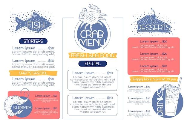 Digitale horizontale restaurantmenüschablone des ozeanfisches