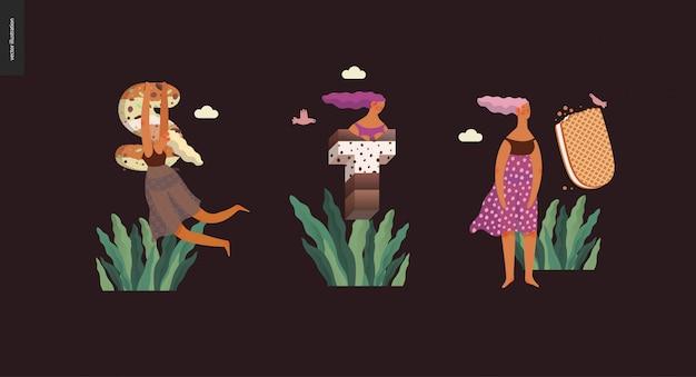 Digitale illustration des modernen flachen vektorkonzeptes nachtischguß abc des versuchungsgusses, der süßen beschriftung und der mädchen. buchstaben aus karamell, toffee, keks, waffel, keks, sahne und schokolade