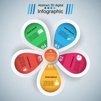 Digitale illustration infographic blume 3d