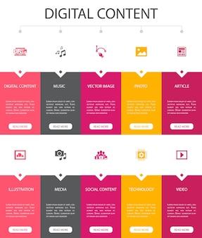 Digitale inhalte infografik 10 option ui design.vector image, media, video, social content simple icons