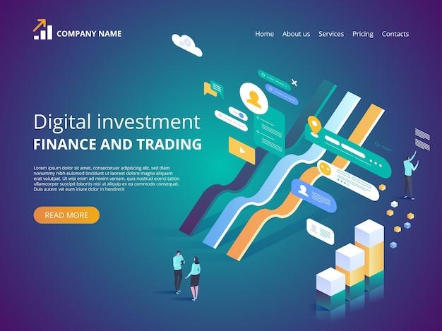 Digitale investition online-statistikillustration für zielseite