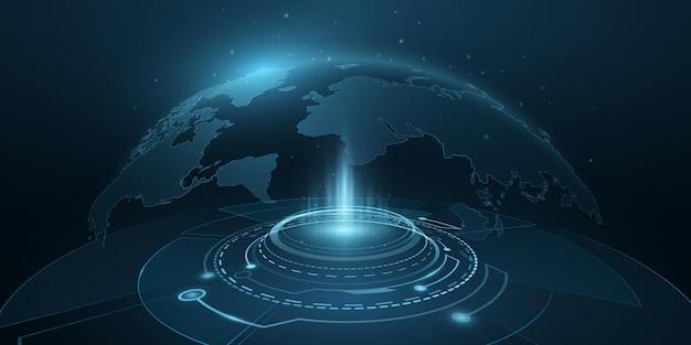 Digitale karte planet erde mit hud-schnittstelle. welthologramm. futuristische 3d-weltkarte im cyberspace mit lichteffekten. technologie-hintergrunddesign. vektor-illustration