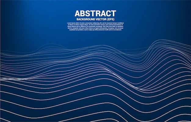 Digitale konturkurve mit punkt, linie und welle mit drahtgitter. abstrakter hintergrund für futuristische technologie 3d