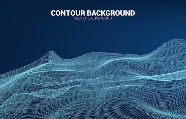 Digitale konturlinie und welle mit drahtgitter. abstrakter hintergrund für futuristisches konzept der technologie 3d