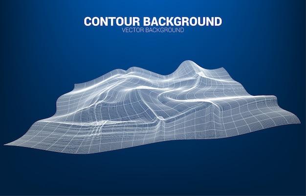 Digitale konturlinie und welle mit drahtmodell. abstrakter hintergrund für futuristisches konzept der technologie 3d