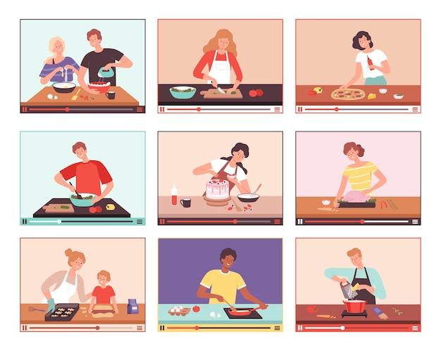 Digitale kulinarik. lebensmittelblogger, die demonstrationskochprozesse auf dem persönlichen kulinarischen vektor des tablet-smartphone-bildschirms vorbereiten. demonstrationskoch-vlog, vorbereitung und zubereitung von kuchenillustration