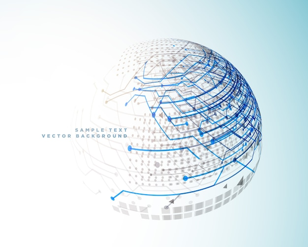 Digitale linien der technologie in der art der kugel 3d