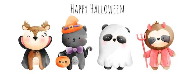 Digitale malerei aquarell happy halloween mit niedlichem tier im halloween-kostüm
