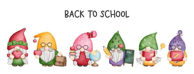 Digitale malerei aquarell lehrer gnome banner zurück zur schule gnome
