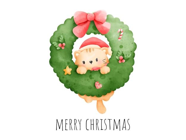 Digitale malerei aquarell meowy weihnachtskarte. weihnachtskatze mit blumenkranzvektor.