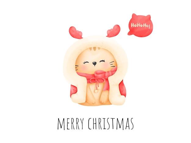 Digitale malerei aquarell meowy weihnachtskarte. weihnachtskatzenvektor.
