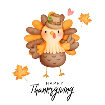 Digitale malerei aquarell thanksgiving truthahn niedlichen truthahn