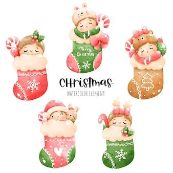 Digitale malerei aquarell weihnachtsbaby in socke. weihnachtselementvektor.