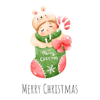 Digitale malerei aquarell weihnachtsbaby in socke