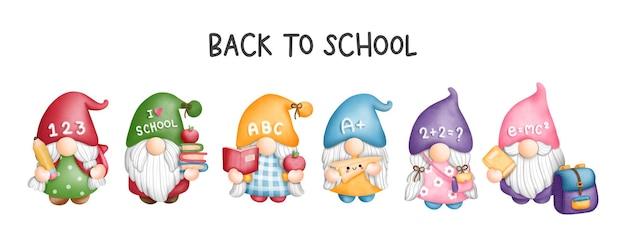 Digitale malerei aquarell zurück in die schule gnome-schüler gnome-grußkarte zurück in die schule