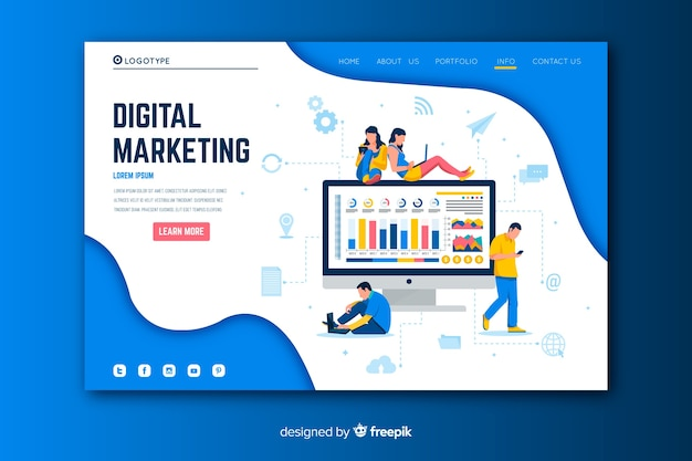 Digitale marketing-landingpage mit monitor