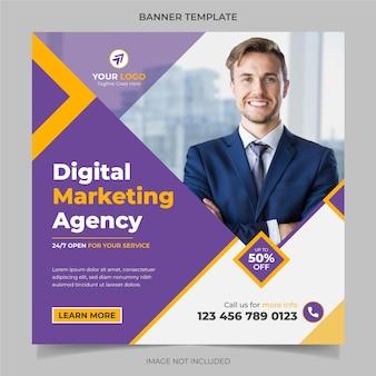 Digitale marketingagentur corporate social media banner und instagram post template design vektor
