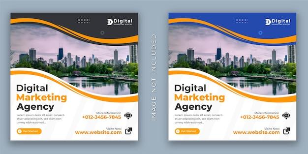 Digitale marketingagentur und corporate business flyer instagram-post oder web-banner-vorlage