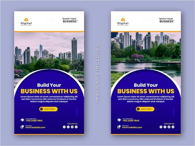 Digitale marketingagentur und corporate business flyer instagram stories social media post oder webbanner vorlage
