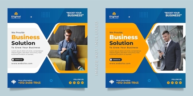 Digitale marketingagentur und corporate business flyer square social-media-instagram-post oder web-banner-vorlage