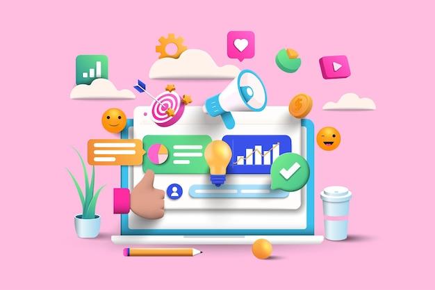 Digitale marketingillustration auf rosa hintergrund