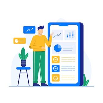 Digitale marketingillustrationen für zielseite