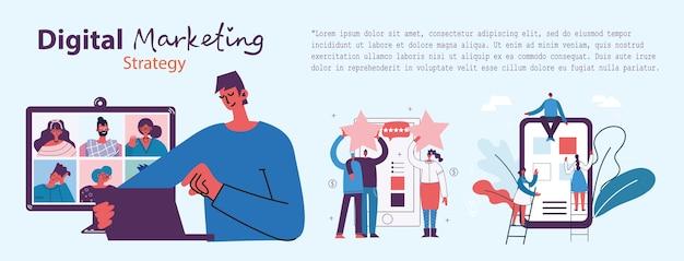 Digitale marketingkonzeptillustration im modernen flachen und sauberen design. männer und frauen nutzen laptop und tablet, suchen und fördern. landing page, einseitige anwendung für webentwicklung, design.