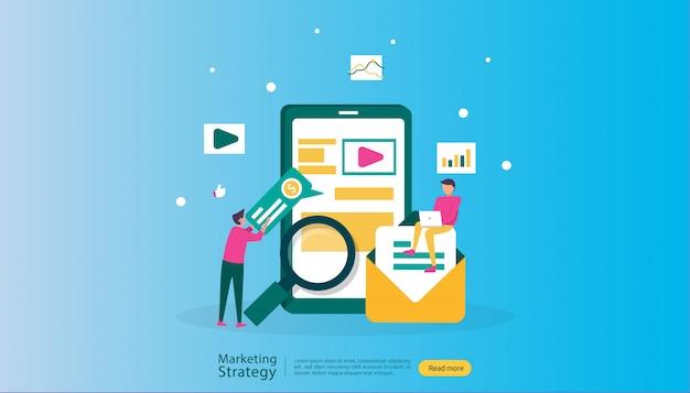 Digitale marketingstrategieillustration des teilnehmers