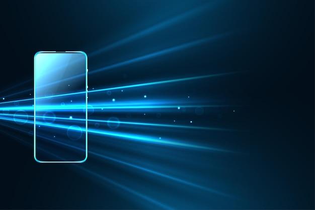 Digitale mobiltechnologie mit leuchtenden geschwindigkeitsstrahlen