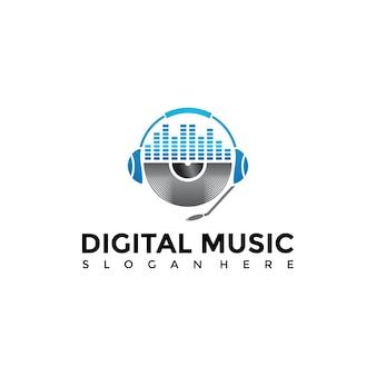 Digitale musik apps logo vorlage.