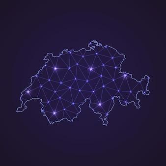 Digitale netzkarte der schweiz. abstrakte verbindungslinie und punkt auf dunklem hintergrund