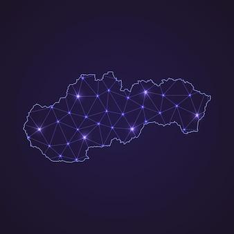 Digitale netzkarte der slowakei. abstrakte verbindungslinie und punkt auf dunklem hintergrund