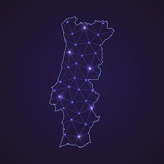 Digitale netzkarte von portugal. abstrakte verbindungslinie und punkt auf dunklem hintergrund
